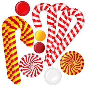 Sertie de différents bonbons rouges et blancs