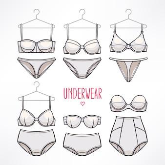 Sertie de différents styles de lingerie. culottes et soutiens-gorge.
