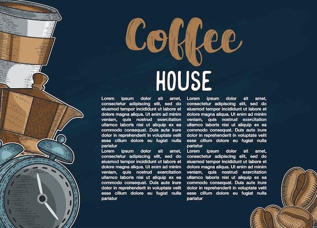 Sertie de différents types de café. illustration dessinée à la main