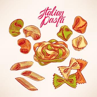 Sertie de différents types de pâtes. illustration dessinée à la main