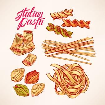 Sertie de différents types de pâtes