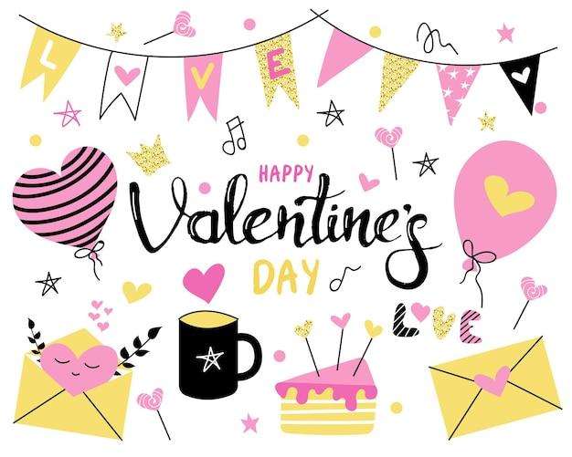 Sertie de drapeaux de la saint-valentin, ballons et tasse de muffins de gâteau de bonbons de la saint-valentin