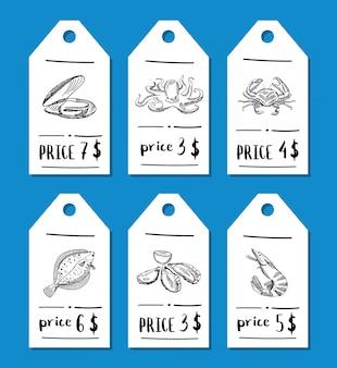 Sertie d'éléments de fruits de mer dessinés à la main pour restaurant