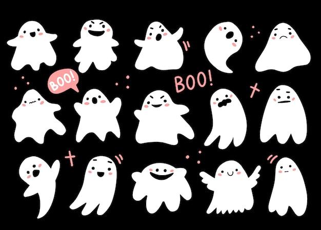 Sertie de fantômes mignons dans un style de dessin animé mignon doodle personnages fantômes d'halloween