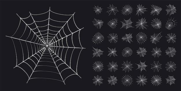 Sertie d'icônes de toile d'araignée. décoration d'halloween avec toile d'araignée. illustration vectorielle plane de toile d'araignée.