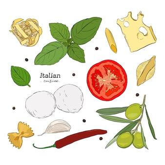 Sertie d'illustrations dessinées à la main de la nourriture