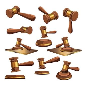 Sertie de juges marteau sous différents angles.