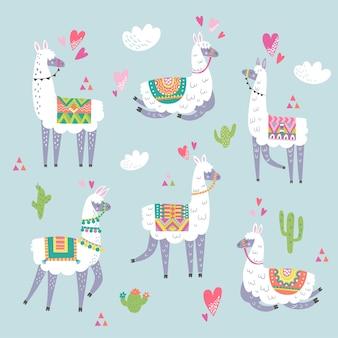 Sertie de lama, cactus, arc-en-ciel et éléments dessinés à la main.
