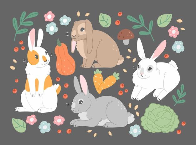 Sertie de légumes et de fleurs de lapins mignons de dessin animé illustration plate
