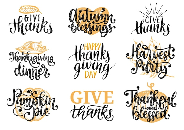 Sertie de lettrage et d'illustrations pour le jour de thanksgiving. remerciez, tarte à la citrouille, fête de la récolte.
