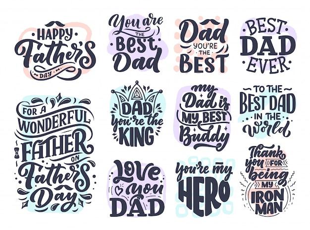 Sertie de lettrage pour la carte de voeux de fête des pères