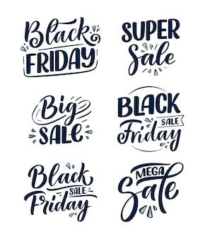 Sertie de lettrage vendredi noir dans un style de calligraphie moderne.
