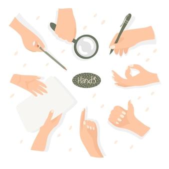 Sertie de mains processus de travail de geste illustration vectorielle