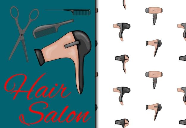 Sertie d'un motif harmonieux et d'articles pour salon de coiffure. style de bande dessinée. illustration vectorielle.