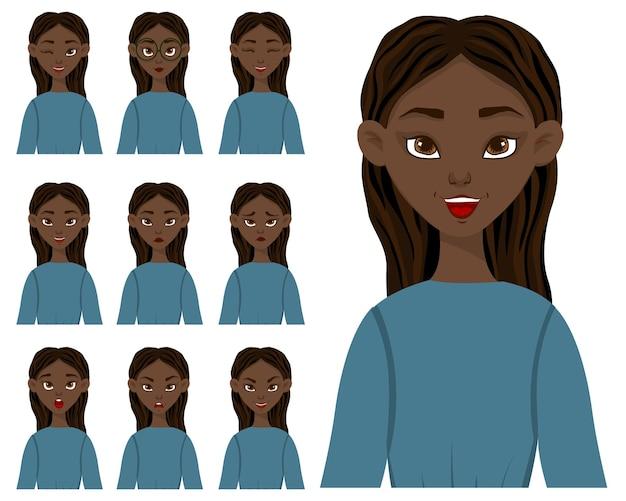 Sertie d'un personnage féminin avec différentes expressions faciales et émotions. style de bande dessinée. illustration vectorielle.