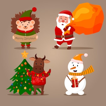 Sertie de personnages du nouvel an. père noël, taureau, hérisson et bonhomme de neige.