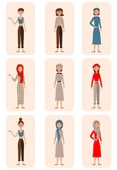 Sertie de personnages féminins en costumes debout