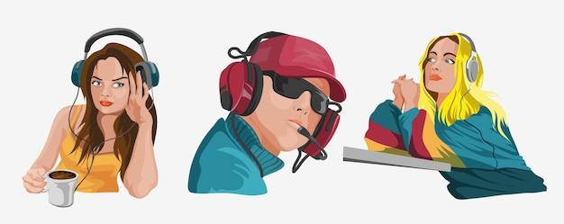 Sertie de peuples dans des écouteurs écoutant de la musique.