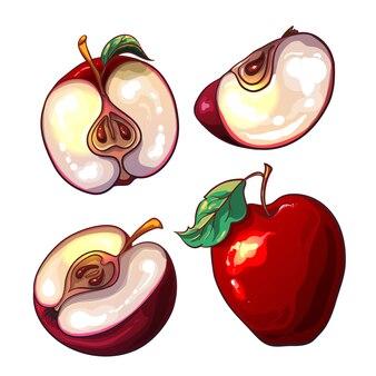 Sertie de pommes fraîches rouges et de morceaux d'appl