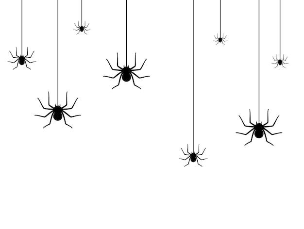 Sertie de silhouette d'araignée. décoration d'halloween ou modèle de tatouage. esquisse de contour de veuve