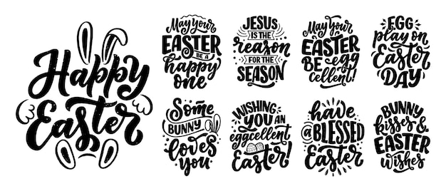 Sertie de slogans de lettrage de calligraphie sur pâques