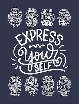 Sertie de slogans de lettrage sur soi-même. citations drôles pour la conception de blogs, d'affiches et d'impressions. textes de calligraphie modernes sur les soins personnels. illustration vectorielle