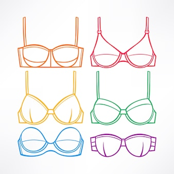 Sertie de sous-vêtements pour femmes. soutiens-gorge de différentes couleurs