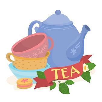 Sertie de théières et de tasses à thé