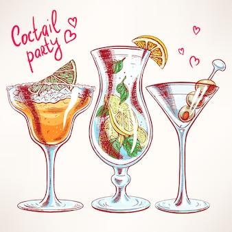 Sertie de trois cocktails différents. illustration dessinée à la main