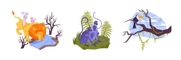 Sertie de trois compositions isolées de plantes et d'animaux tropicaux plats