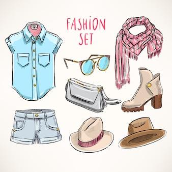 Sertie de vêtements et accessoires pour jeunes dessinés à la main
