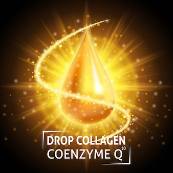 Sérum collagène coenzyme q10, goutte d'or réaliste.
