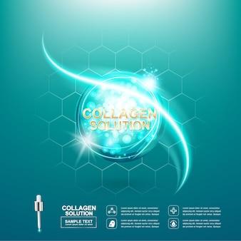 Sérum de collagène et cosmétique de soins de la peau vitamin concept