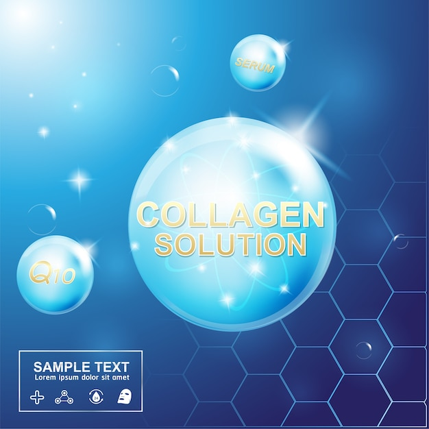 Sérum de collagène et vitamine pour le concept de modèle d'affiche de soins de la peau