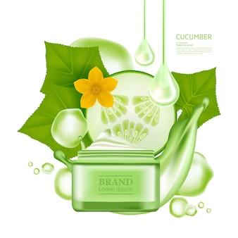 Sérum de concombre pour illustration vectorielle de produit de soin de la peau