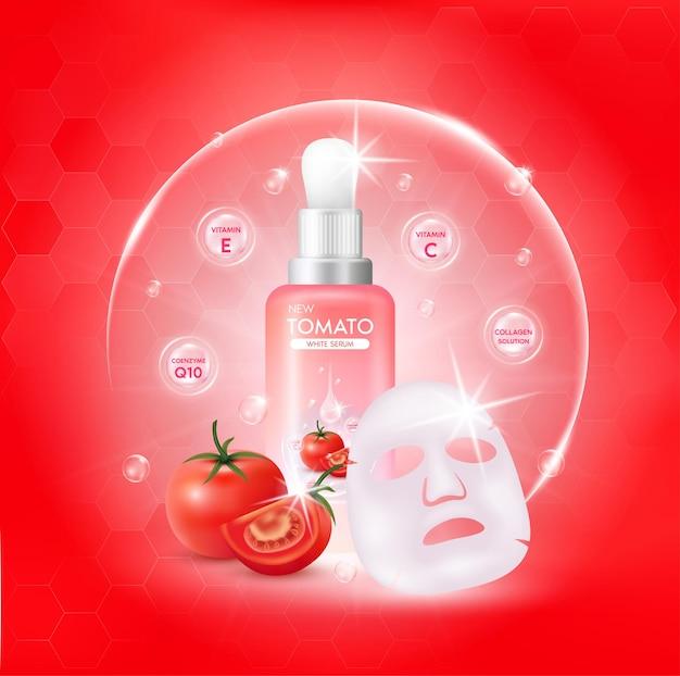 Sérum corporel blanc à la tomate. collagène et vitamine