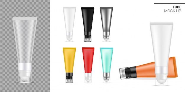 Sérum cosmétique noir et blanc pour les yeux tube realistic transparent.
