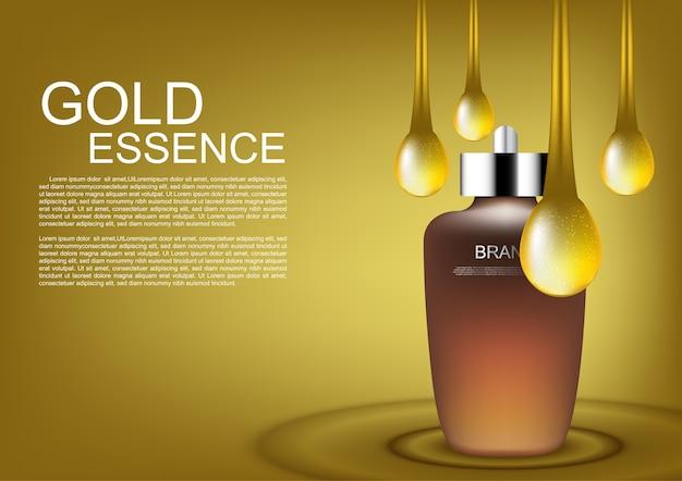 Sérum avec des gouttes d'or vecteur des annonces cosmétiques