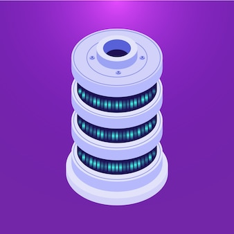 Serveur de base de données isométrique sur violet