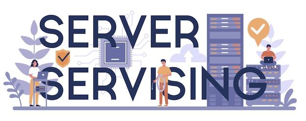 Serveur desservant le concept d'en-tête typographique. administrateur système travaillant sur ordinateur et effectuant des travaux techniques avec le serveur. configuration des systèmes informatiques et des réseaux. illustration vectorielle