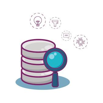 Serveur De Données Et Icônes Liées Au Big Data Vecteur Premium