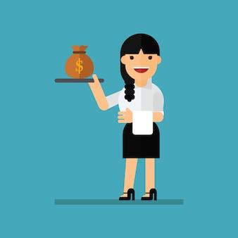 Serveur de femme d'affaires avec de l'argent
