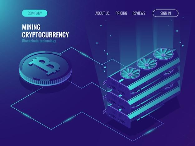Serveur de ferme d'extraction de devises cryptographiques. blockchain isométrique, traitement de données volumineuses