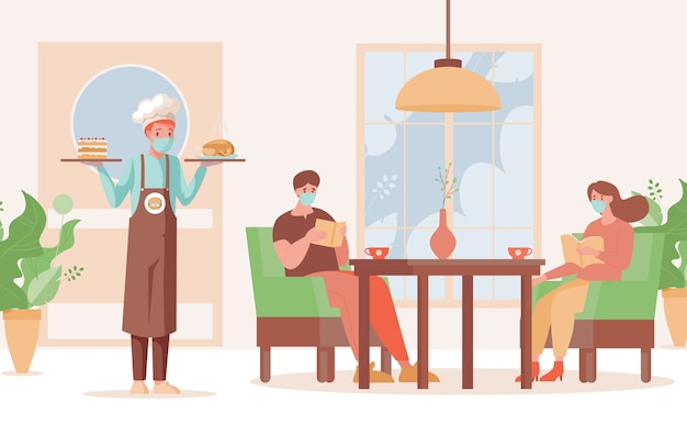 Serveur en masque et gants tenir des assiettes avec un gâteau et du poulet frit