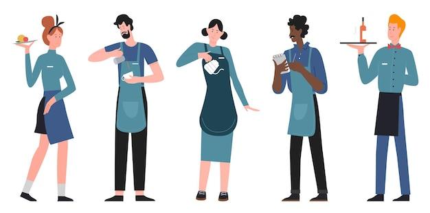 Serveur de personnes et serveuse debout, équipe de personnel de restaurant de dessin animé, ensemble de service de restauration