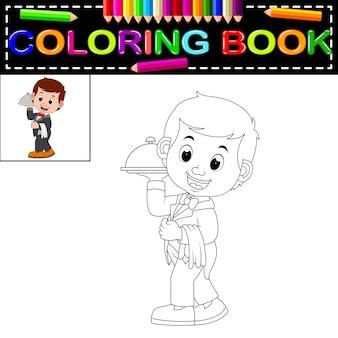 Serveur restaurant servant livre de coloriage