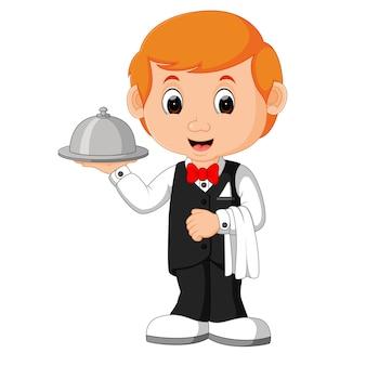 Serveur restaurant serving cartoon
