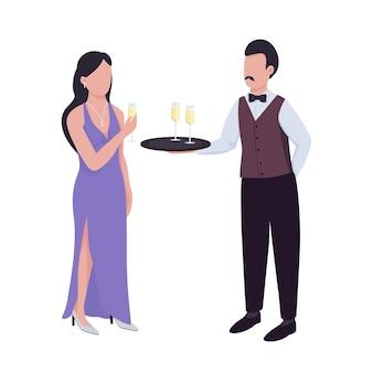 Serveur servant du vin mousseux à des personnages vectoriels de couleur semi-plats pour dame