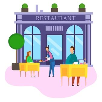 Serveur servir des aliments café client homme femme en plein air