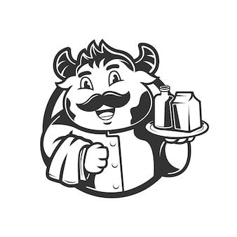 Serveur de vaches de caractère mascotte avec illustration vectorielle de lait